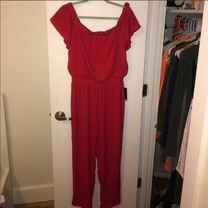 Express. Off the shoulder red jumpsuit